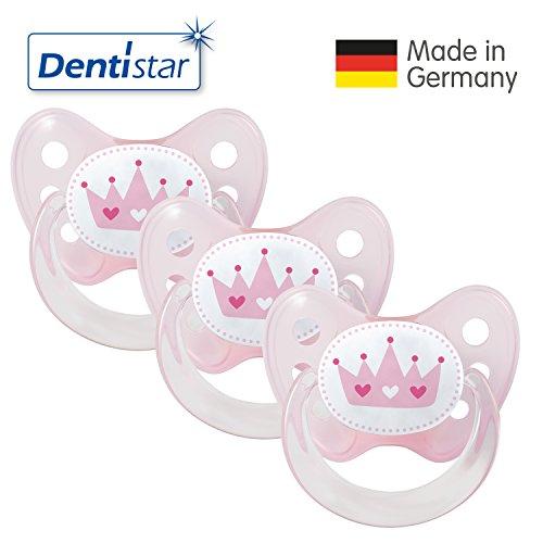 Preisvergleich Produktbild Dentistar® Schnuller 3er Set- Nuckel Silikon in Größe 2, 6-14 Monate - zahnfreundlich & kiefergerecht - Beruhigungssauger für Babys - Rosa Krone