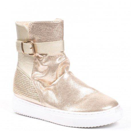 Ideal Shoes - Bottines bi-matière avec partie nacrée et strassée Ornelia  Doree