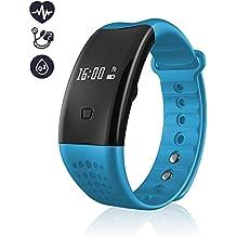 Monitores de actividad, mejor Fitness Tracker Bluetooth 4.0 Smart Fitness entrenamiento perseguidor de la pulsera presión de la sangre / oxígeno de la sangre / corazón tasa dormir Monitor podómetro pulsera con pantalla OLED táctil de Android y iOS sistema (Azul)