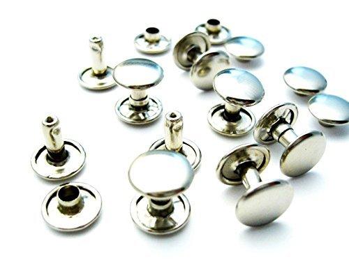 100 x 8 mm, colore: argento, confezione da 2, doppia Rivetti tubolari per Leather Crafts-Decorazione a forma di Jeans, per borse, cinture, Dog Collars, robusta e chiusura per cucire vestiti di riparazione