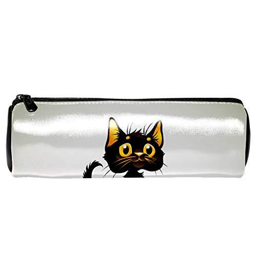 EZIOLY Federmäppchen mit schwarzer Katze auf Halloween, Leder, für Schule, Arbeit, Büro (Arbeiten Halloween Auf)