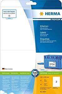 Herma 5064 Etiketten (Premium A4 Papier matt, 210 x 148 mm) 50 Stück weiß