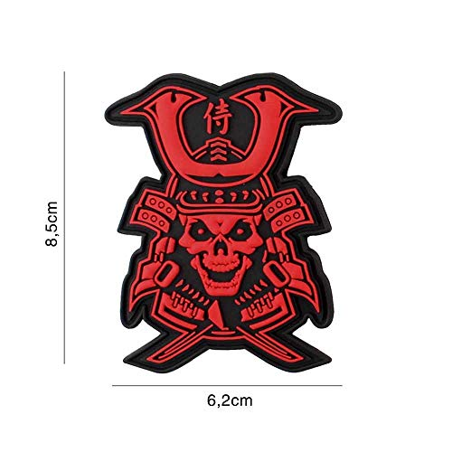 Van Os Emblem 3D Rubber Patch Samurai Skull Klett Abzeichen 8,5 x 6,2 cm PVC rot