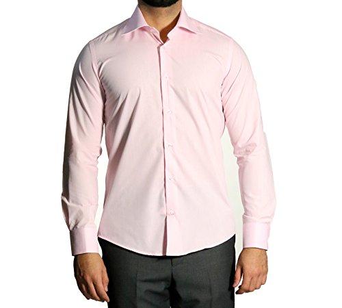 Herren Hemd Slim Fit mit Einstecktuch Rosa XL