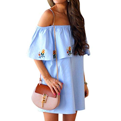 QIYUN.Z Femmes Falbala Épaule Froide Imprimé Floral Bleue Bleu Mini Halter Cou Robe Photo Couleur
