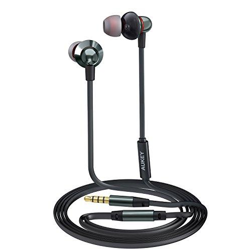Aukey auricolare in ear stereo universale, cuffie moving coil con microfono, design avanzato per enhanced bass (bassi rafforzati) in riduzione del rumore
