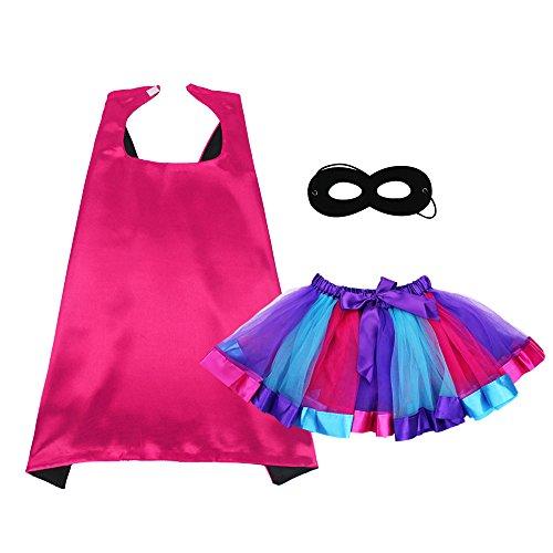 Superheld Umhang und Maske mit TUTU Kostüm für Mädchen Prinzessin verkleiden sich (Erwachsenen Flügel Regenbogen Die)