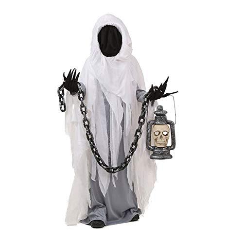 NBCDY Spooky Ghost Kostüm, Deluxe COS Sensenmann Spielzeug Kostüme, Maskerade Parteien Terror Skeleton Kostüm Dress Up Kleidung für Erwachsene, umfasst Sie von Kopf bis - Deluxe Sensenmann Kostüm