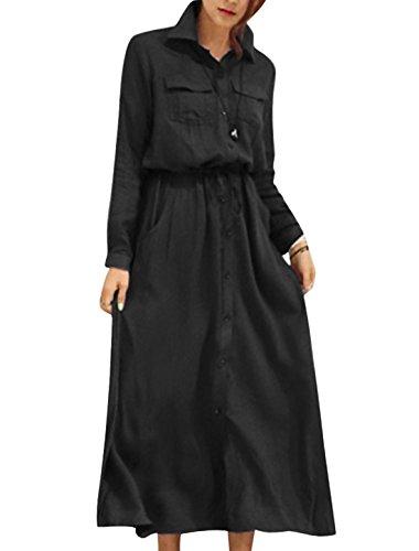 Femme Veste Droite Cordon Ceinture Buste Poches Robe Longue Décontractée Noir