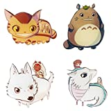 CoolChange Studio Ghibli 4 Kühlschrank Magneten mit Chibi Figuren von Totoro, Prinzessin Mononoke etc.