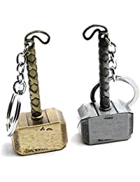 Startday Silver Thor Hammer Keyrings & Keychains -Metal Hammer Combo Pack Key Chain-Premium Quality-100% Branded