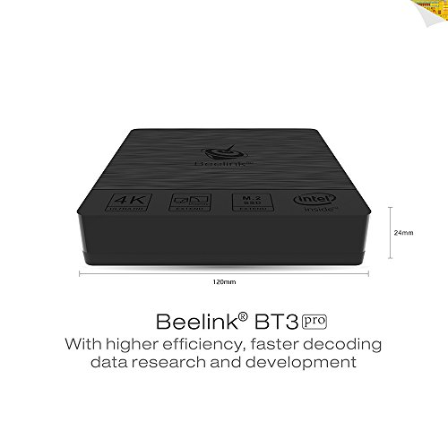 Beelink BT3 Pro Intel Mini PC Dual Screen Display -Support Windows 10 System for Office Use-DDR3 4GB+Windows(C:) 64GB / 4k Ultra HD / Intel Atom x5-Z8350 / USB 3.0 + HDMI Port