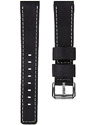Bracelet de montre remplacement plongée nylon imperméable par ZULUDIVER, Noir et Gris, 20mm