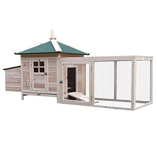 Pawhut pollaio gabbia per galline da esterno in legno con recinto corsa cassetta nido 196x73.5x98