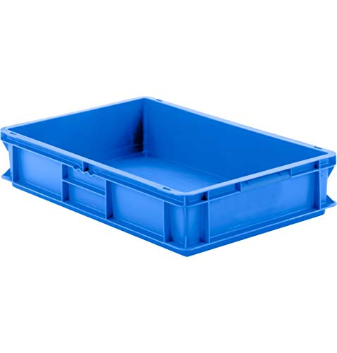 SSI Schäfer EF 6120 Eurokiste Kunststoffbox Transportbox offen ohne Deckel, 600x400 mm, 23,3 l, 20 Kg Tragkraft, Made in Germany, Blau