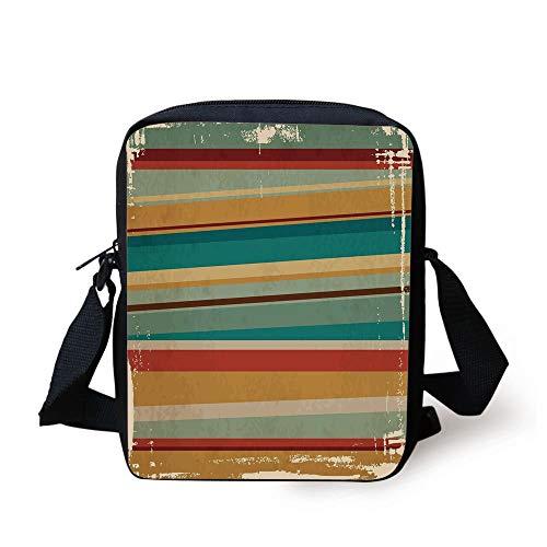 Designer Inspired Bag Purse Handtasche (CBBBB Brown and Blue,Geometric Stripes Pattern Retro Inspired Lines Worn Frame Design Abstract Decorative,Multicolor Print Kids Crossbody Messenger Bag Purse)