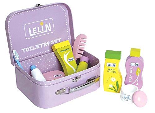 LELIN 0007646 Toilettenartikel-Set für Kinder, Holz, für Badezimmer, Reisezubehör, Mehrfarbig -