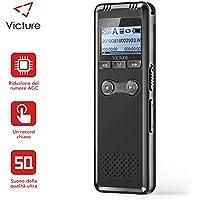 Victure Grabadora de Voz Digital con Sonido USB de 8GB a 1536 Kbps, Grabación de HD, Grabadora de Audio Portátil Activada Reducción de Ruido con Recargable Reproductor de MP3 con 2 Micrófono