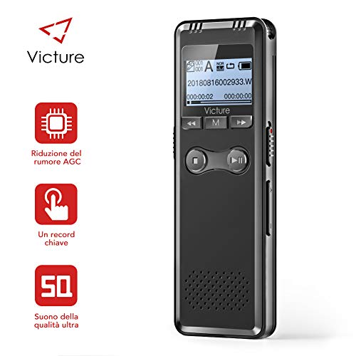 Victure Registratore vocale Digitale, Registrazione HD da 8 GB 1536 kbps, modalità di...
