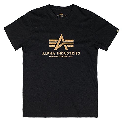 Alpha Industries Herren Regular Fit T-Shirt Basic T-Shirt Black/Gold