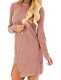 Auxo Femme Mini-Robe Pull Sexy Pull à Col Rond Manche Longue Fente Latérial avec Bouton Pulls Épais Casual Robe Sexy Automne Hiver Fille Pull-Over B-Rose XL