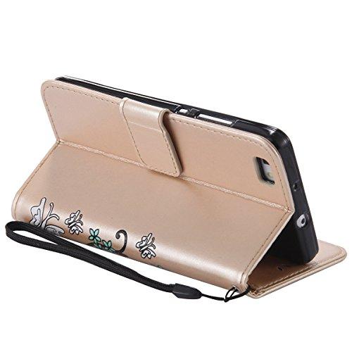 Hülle für Huawei P8 Lite, Tasche für Huawei P8 Lite, Case Cover für Huawei P8 Lite, ISAKEN Blume Schmetterling Muster Folio PU Leder Flip Cover Brieftasche Geldbörse Wallet Case Ledertasche Handyhülle Schmetterlinge Bunt Gold
