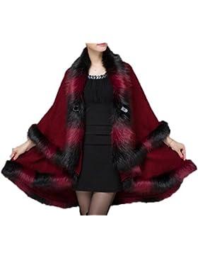 Mujeres De Doble Talla De Gran Tamaño De Rebeca De Punto Mezclado Color Colgante Manto Abrigo De Piel De Abrigo