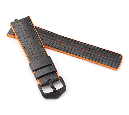 mance Uhrenarmband Modell Ayrton 20 mm Schwarz/orange ()