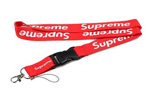 Cinta Supreme reversible de estilo urbano, color rojo para llaveros, correa para el cuello, teléfonos y accesorios (1)