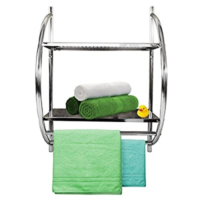 casa pura® Orbis Wall Mounted Bathroom Storage Shelves With 2 Tier Towel Rack | Chrome - cheap UK light store.