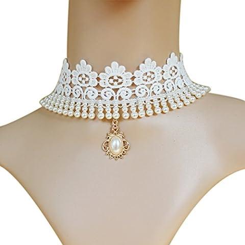 Tiempo Pawnshop elegante vestidos accesorios blanco perla encaje Gargantilla Collar