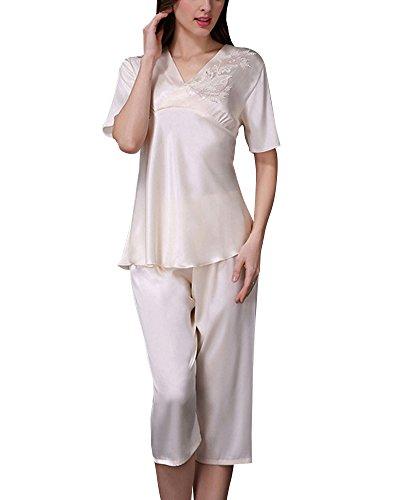 Camicia in Raso Vestaglia Donna Pantaloncini Manica Corta Pigiama due Pezzi Champagne