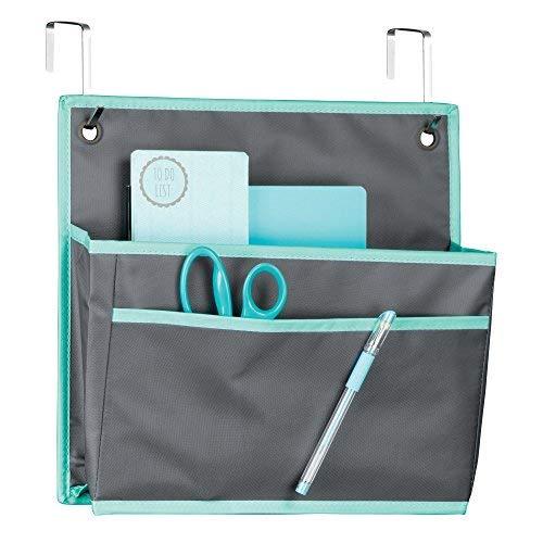 Mdesign portaoggetti da appendere alla porta – pratico organizer da parete per ufficio – portaoggetti in stoffa e metallo con tasche – grigio/verde acqua