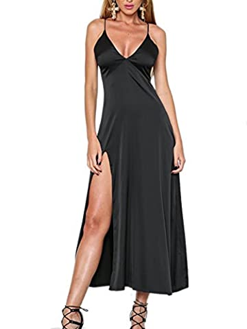 Simplee Apparel Women's Sexy Chemise Plunge V Neck Strappy Side Slit Maxi Satin Slip Dress Party