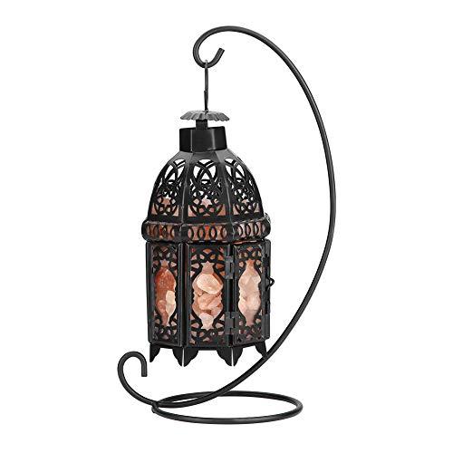 Salzlampe himalaya kristall lampe Vintage Eisen Rahmen natürlichen Kristall Salz Rock Lampe Luftreiniger Zimmer Nachtlicht Dekor (schwarz) (Luftreiniger Guter Ist Was Ein)