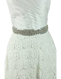 Lemandy Amazing Handmade Sashes with Gorgeous Crystals in Ribbon Elegant Belt for Bridal Wedding Dresses in 5 Colors