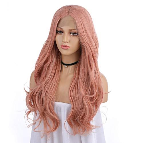 Waselia - Front Lace Wig, perücken lace front günstig, perücken damen locken Rosa,Damen Frauen lange Natürlich Wellige Lockige Lange Rosa, 24-Zoll-Licht Rosa große ()