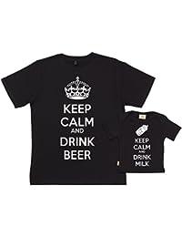 SR - Keep Calm And Drink Milk & Beer - conjunto de regalo para padres y bebés - En caja de regalo - padre camiseta & bebé camiseta