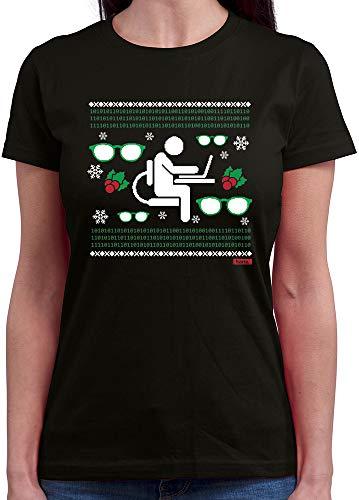 HARIZ  Damen T-Shirt Rundhals Weihnachten Nerd Programmierer Weihnachten Xmas Geschenke Liebe Inkl. Geschenk Karte Schwarz S