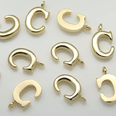 2colgantes con inicial de la letra C, color dorado brillante, chapados en oro de 16 K sobre latón, con conectores metálicos para pendientes, collares, pulseras, etc. Artículos de joyería Annielov #annielov