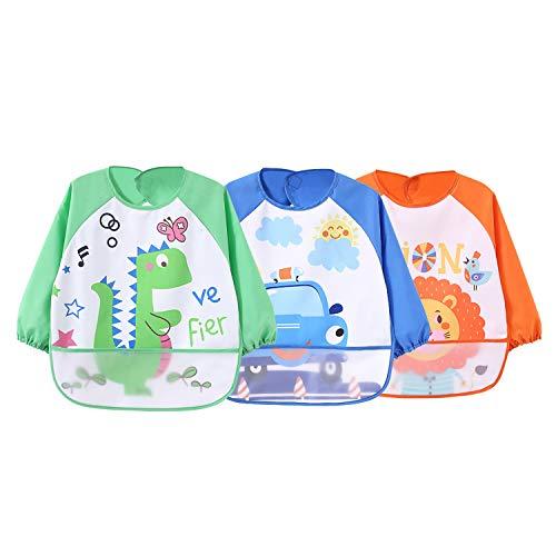 3Pack Wasserdicht Ärmellätzchen abwaschbar latz mit ärmel lätzchen mit auffangschale Ärmellätzchen mit Nässeschutz - Essen und Play Smock Schürze für Kleinkinder für 6-36 Monate Kinder - Wie Gekleidet Man