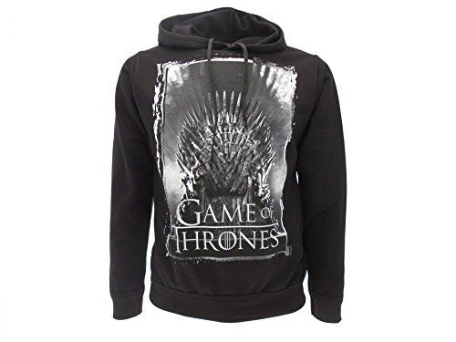 Felpa Games of Thrones Originale Nera Trono di spade con tasche Prodotto...