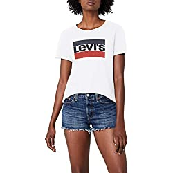 Levi's The Perfect Tee, Camiseta para Mujer, Blanco (White 297), Small
