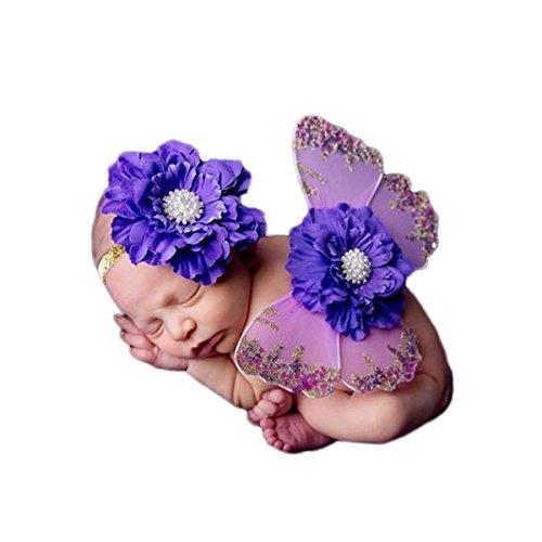 Neugeborene baby fotoshooting Fotografie Kostüm Blumen Stirnband Butterfly Wings - lila ()