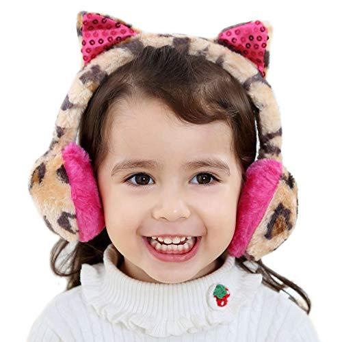 Gifts Treat Ohrenschützer Mädchen Ohrenschützer in Plüsch Cute Design (Leopardenprint Ohr(Gelb))