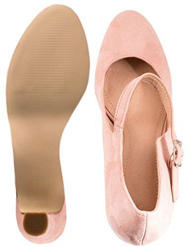 Elara Femmes Plateforme Escarpins Talons hauts talons Mary Janes Chaussures T-Strap Rose