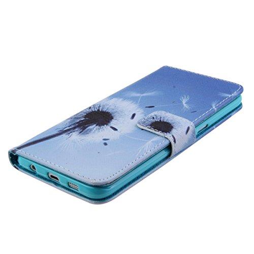 iPhone 6 plus Wallet Case Cover - Felfy Ultra Slim Cuir Coque Pour Apple iPhone 6 plus / 6S plus 5.5 pouce Flip pissenlit blanc Motif PU Étui Portefeuille Housse Etui Holster + 1x Argent