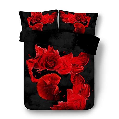 G'z Blaue Rosen Bettbezug-Set Floral Tröster Cover Fisch rot 3pc Bettwäsche-Set 2 Kissen Shams Blumen schwarz grau Duvet Steppdecke mit Reißverschluss (Farbe : Fish Bed Set, größe : Cal King) (Tröster Und Rote Rose Schwarz Set)