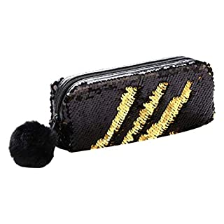 Glitter Mermaid Cosmetic Bag Fashion Reversible Sequin Pencil Case Flip Double Color Purse Women Make Up Pouch Handbag Shiny for Girls Teenage Women (Black)