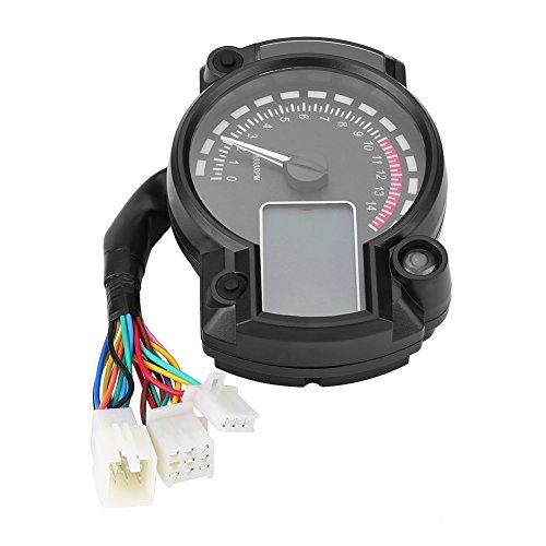 Qiilu Universal Motorcycle Digital Colorful LCD Velocímetro Cuentakilómetros Tacómetro con Sensor de...